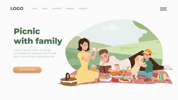 Szablon strony docelowej dla strony internetowej z piknikiem rodzinnym płaska ilustracja
