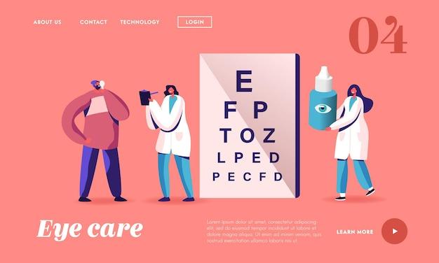 Szablon strony docelowej do profesjonalnego egzaminu optycznego. okulista lekarz znaków sprawdzić wzrok. oculist checkup sight i przepisz krople do oczu. ilustracja wektorowa kreskówka ludzie