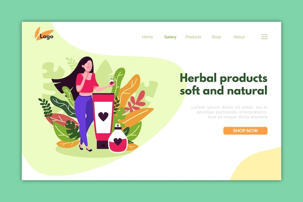 Szablon strony docelowej do promocji kosmetyków przyrodniczych