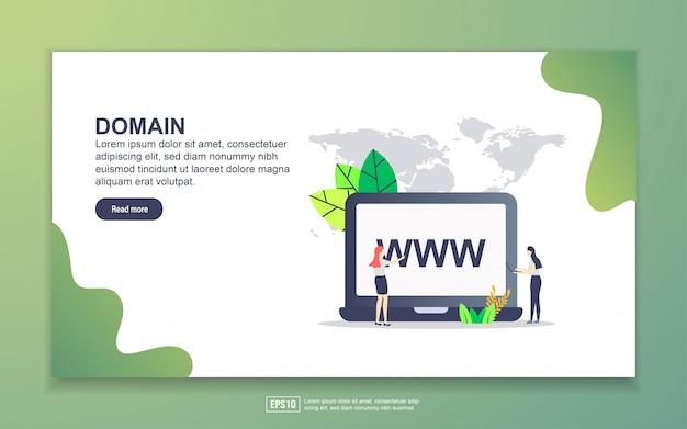 Szablon strony docelowej domeny. nowoczesna koncepcja płaskiego projektowania stron internetowych dla stron internetowych i mobilnych.