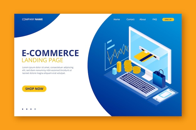 Szablon strony docelowej e-commerce w rzucie izometrycznym