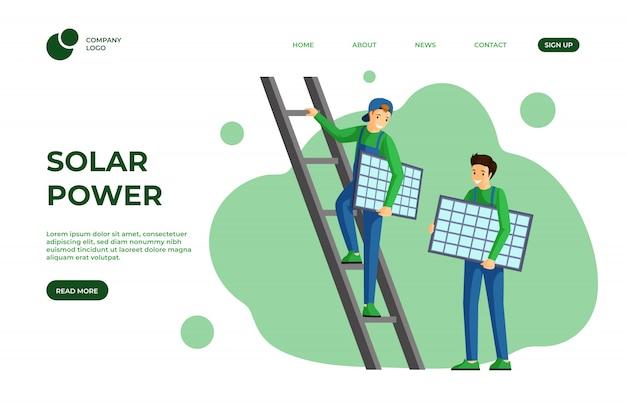 Szablon strony docelowej energii słonecznej. korzystanie z alternatywnego i odnawialnego projektu strony internetowej poświęconej zielonej energii. instalacja paneli słonecznych, serwis montażowy modułu fotowoltaicznego, strona internetowa, układ jednej strony z kreskówkami