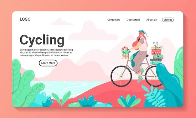 Szablon strony docelowej enjoy cycling. nowoczesna koncepcja płaskiego projektowania stron internetowych dla stron internetowych i mobilnych.