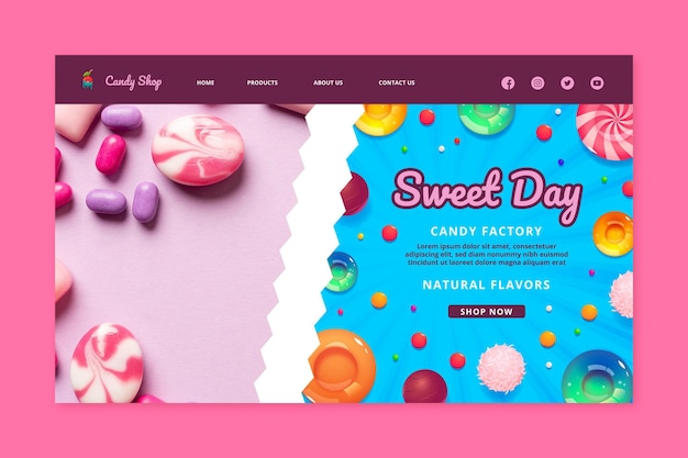 Szablon strony docelowej fabryki cukierków