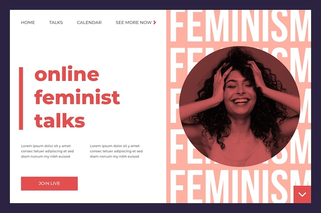 Szablon strony docelowej feminizmu ze zdjęciem