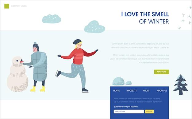 Szablon strony docelowej ferii zimowych. postać człowieka bałwana, kobieta na łyżwach na stronie internetowej lub stronie internetowej. łatwa edycja. ilustracji wektorowych