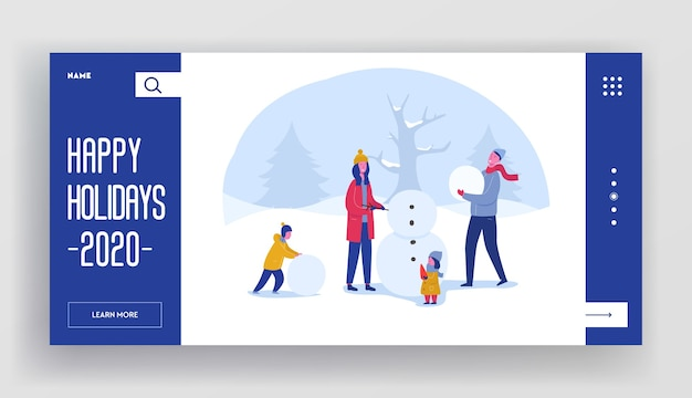 Szablon strony docelowej ferii zimowych. wesołych świąt i szczęśliwego nowego roku układ strony internetowej z postaciami z płaskiej rodziny budującej bałwana. dostosowana witryna internetowa dla telefonów komórkowych.
