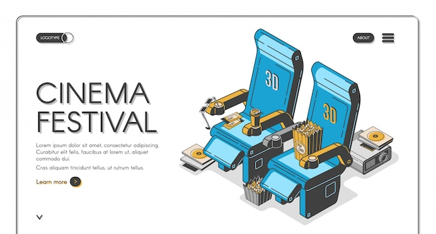 Szablon strony docelowej festiwalu kina