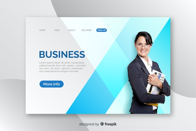 Szablon strony docelowej firmy ze zdjęciem