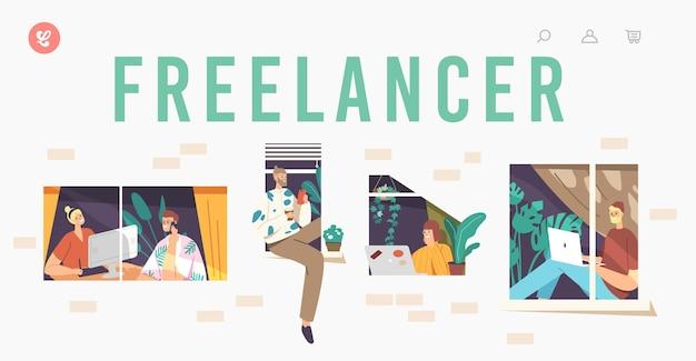 Szablon strony docelowej freelancera. zrelaksowane postacie w systemie windows. zdalne miejsce pracy, zawód niezależny, pracownicy zewnętrzni pracujący z dala od laptopa z domu. ilustracja wektorowa kreskówka ludzie