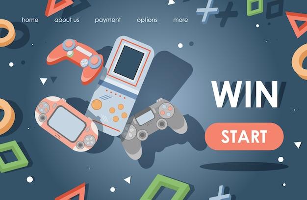 Szablon strony docelowej gier wideo. konsole do gier, płaska ilustracja kontrolerów gier.