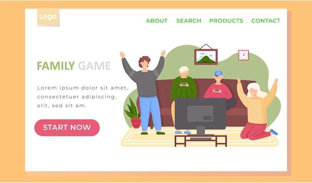 Szablon strony docelowej gry rodzinnej ze szczęśliwą rodziną lub przyjaciółmi grającymi w gry wideo.