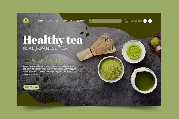 Szablon Strony Docelowej Herbaty Matcha Darmowych Wektorów