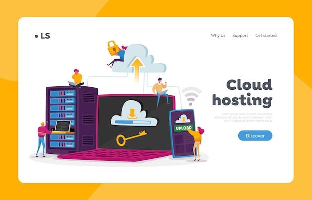 Szablon strony docelowej hostingu. drobne postacie na ogromnym laptopie, telefonie i sprzęcie serwerowym. programowanie internetowe, interfejs przechowywania w chmurze