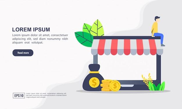 """Szablon strony docelowej. ilustracja wektorowa zakupów online i e-commerce z zakupami i marketingiem online """"e-commerce"""""""