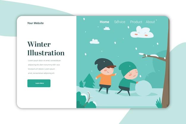Szablon strony docelowej ilustracji zimowych cute caracter