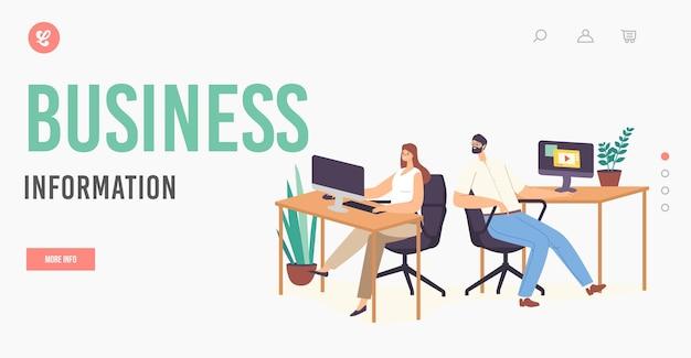 Szablon Strony Docelowej Informacji Biznesowych. Męski Charakter Siedzący W Miejscu Pracy Podważać Kolega Patrząc Na Monitor Komputera. Ciekawy Człowiek Podsłuchiwanie W Biurze. Ilustracja Wektorowa Kreskówka Ludzie Premium Wektorów