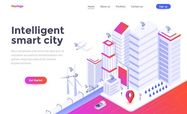 Szablon strony docelowej inteligentnego inteligentnego miasta w stylu izometrii
