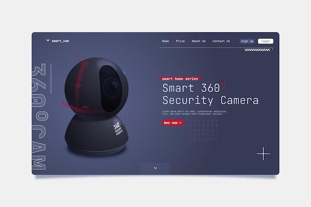Szablon strony docelowej inteligentnej kamery bezpieczeństwa
