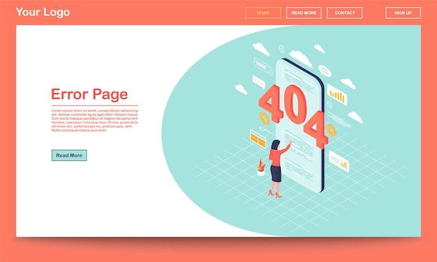 Szablon strony docelowej izometryczny strony błędu. 404 powiadomienie o uszkodzonym linku na telefon użytkownik, awaria wyszukiwania w kliencie. serwer nie znalazł wiadomości na stronie internetowej z miejscem na tekst, stroną docelową