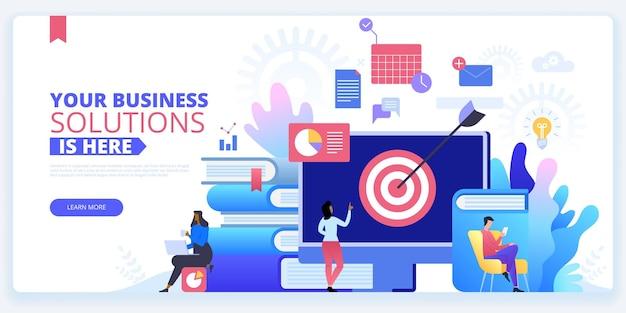 Szablon strony docelowej kampanii marketingowej online promocja internetowa koncepcja kreskówek banerów internetowych