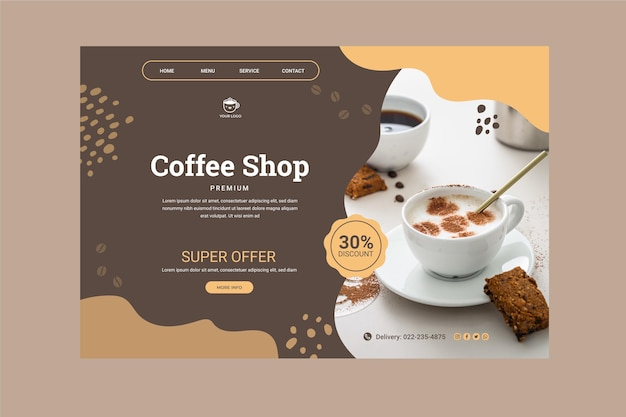 Szablon strony docelowej kawiarni