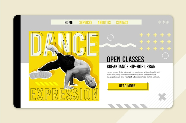 Szablon strony docelowej klasy tańca