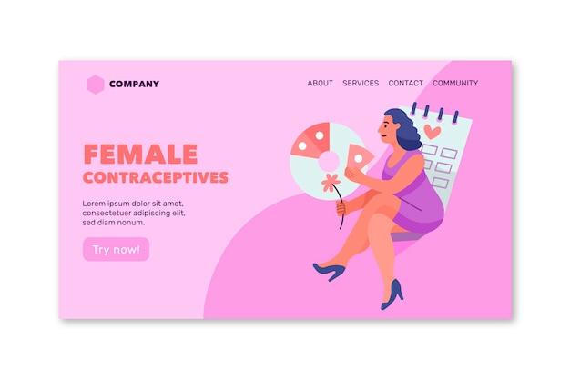 Szablon strony docelowej kobiecych środków antykoncepcyjnych