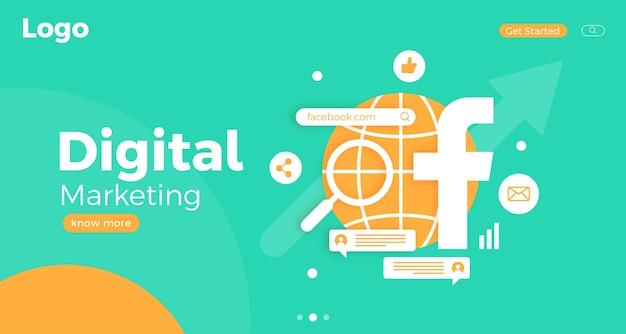 Szablon strony docelowej koncepcji marketingu cyfrowego z ikonami