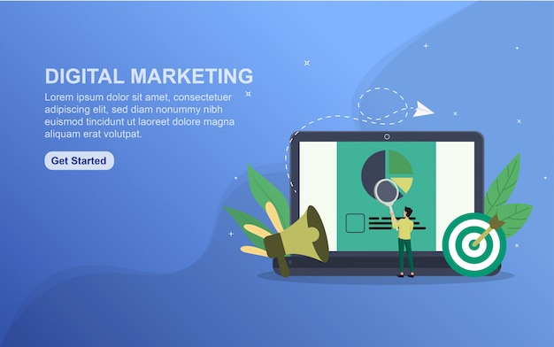Szablon strony docelowej koncepcji marketingu cyfrowego.