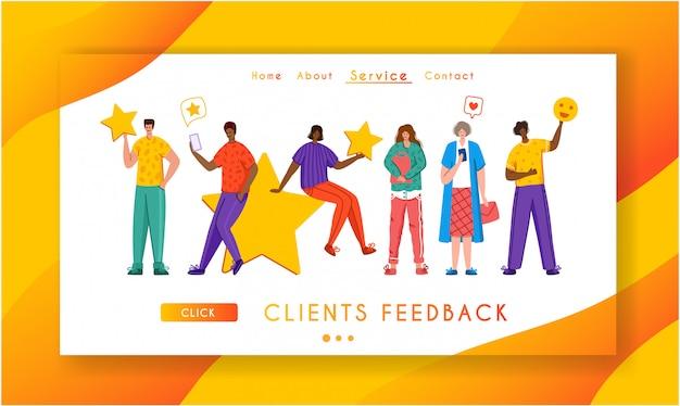 Szablon strony docelowej koncepcji opinii klientów, miniaturowi malutcy ludzie i gigantyczne gwiazdy, baner internetowy z miejscem na tekst