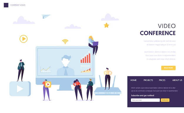 Szablon strony docelowej konferencji wideo. seminarium internetowe poświęcone komunikacji postaci ludzi biznesu, edukacja online dotycząca witryny internetowej lub strony internetowej.