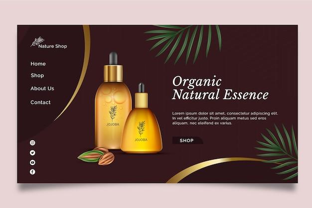 Szablon strony docelowej kosmetycznego oleju kosmetycznego