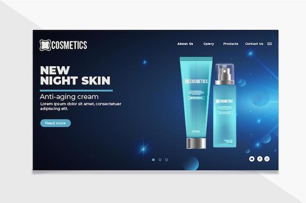 Szablon strony docelowej kosmetyków do twarzy