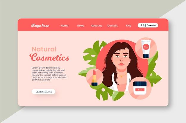 Szablon strony docelowej kosmetyków naturalnych