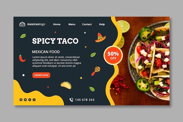 Szablon strony docelowej kuchni meksykańskiej