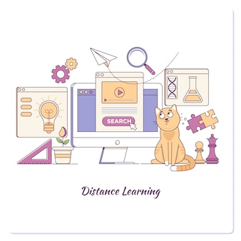 Szablon strony docelowej learing online business concept elearning education template web banner