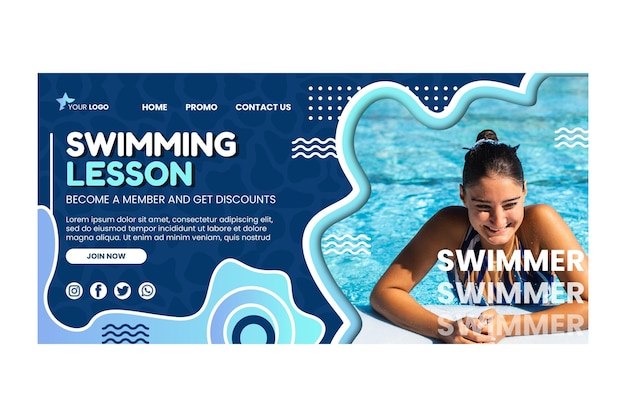 Szablon strony docelowej lekcji pływania