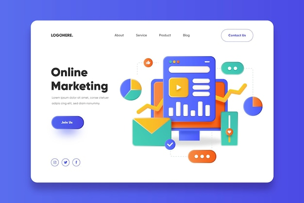 Szablon strony docelowej marketingu online