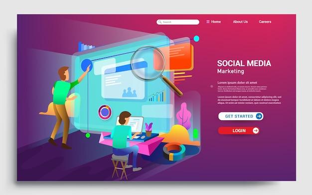 Szablon strony docelowej marketingu w mediach społecznościowych nowoczesna koncepcja projektowania strony internetowej dla witryny internetowej