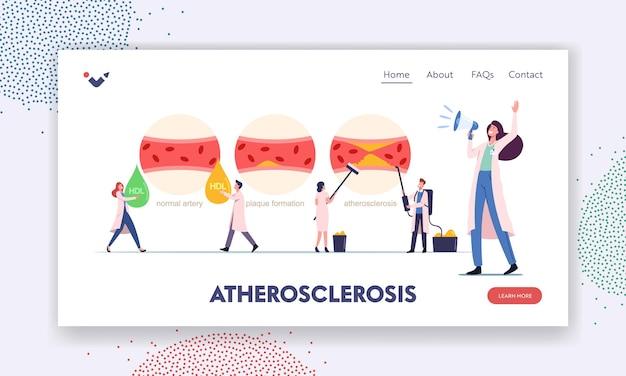 Szablon strony docelowej miażdżycy. małe postacie medyczne przedstawiające normalną ludzką tętnicę krwi, tworzenie się płytki nazębnej i naczynia zablokowane cholesterolem, opieka zdrowotna. ilustracja wektorowa kreskówka ludzie