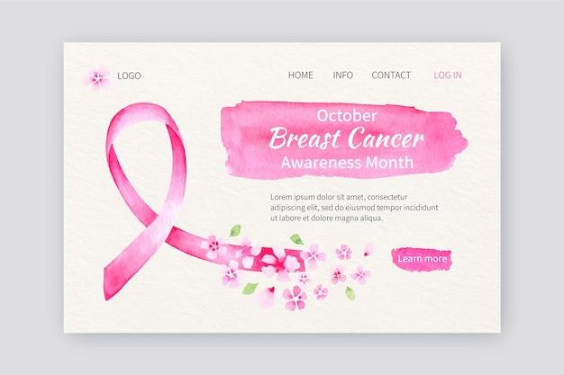Szablon strony docelowej miesiąca świadomości raka piersi w akwareli