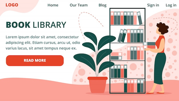 Szablon strony docelowej młoda bibliotekarz kobieta