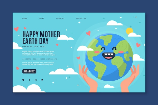 Szablon Strony Docelowej Na Obchody Dnia Matki Ziemi Premium Wektorów