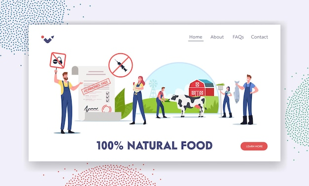 Szablon strony docelowej naturalnej żywności. postacie podpisujące petycję w sprawie zrównoważonego rolnictwa ekologicznego, hodowli i hodowli zwierząt wolnych od antybiotyków i hormonów. ilustracja wektorowa kreskówka ludzie