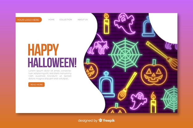 Szablon strony docelowej neon halloween