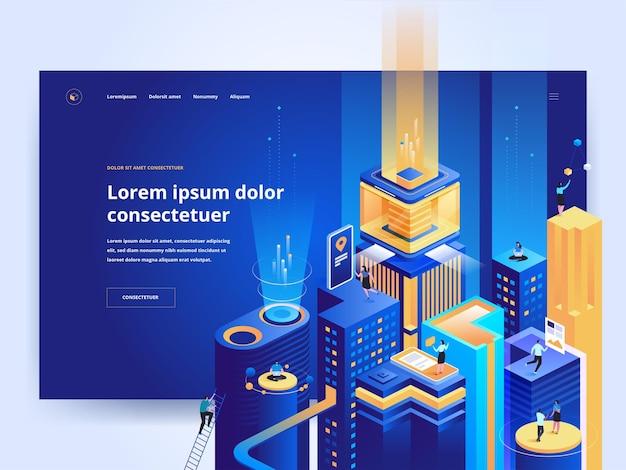 Szablon strony docelowej niebieskiej technologii inteligentnej. platforma rozwoju biznesu strona główna pomysł interfejsu użytkownika z izometrycznymi ilustracjami wektorowymi. futurystyczne miasto, baner internetowy w cyberprzestrzeni ciemny kolor koncepcja 3d