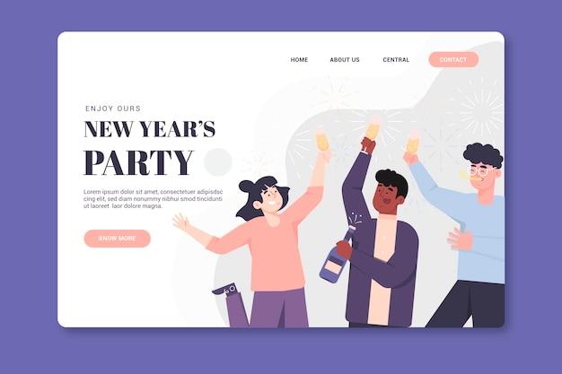 Szablon strony docelowej nowego roku w płaskiej konstrukcji