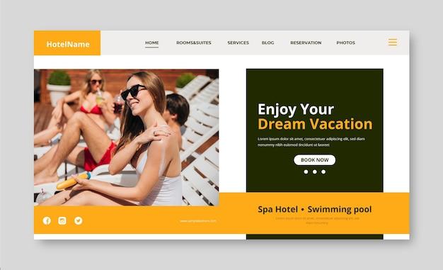 Szablon strony docelowej nowoczesnego hotelu ze zdjęciem