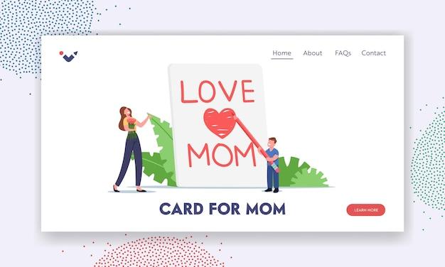 Szablon strony docelowej obchodów dnia matki. małe dziecko postać pisania miłości mama na ogromny notatnik stronie, syn pogratulować matce z ręcznie robioną kartką z życzeniami. ilustracja wektorowa kreskówka ludzie